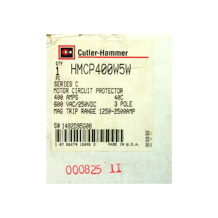 CUTLER-HAMMER - HMCP400W5W - Circuit breaker. 3 Pole 400Amp 600VAC/250VDC.