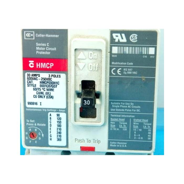Cutler-Hammer - HMCP030H1C - 30Amp 3-Pole 600VAC 250VDC
