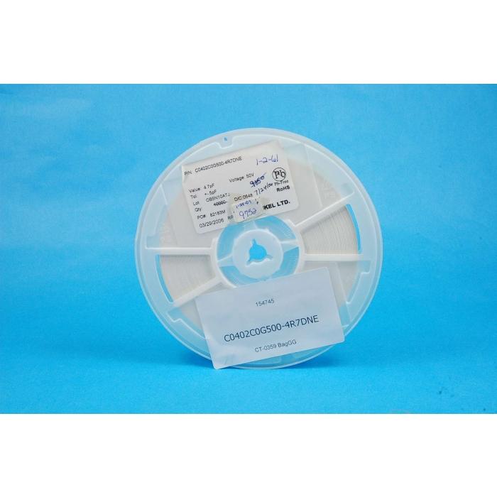 VENKEL LTD - C0402C0G500-4R7DNE - Capacitor, SMD. 4.7pF 50V. Package of 250.