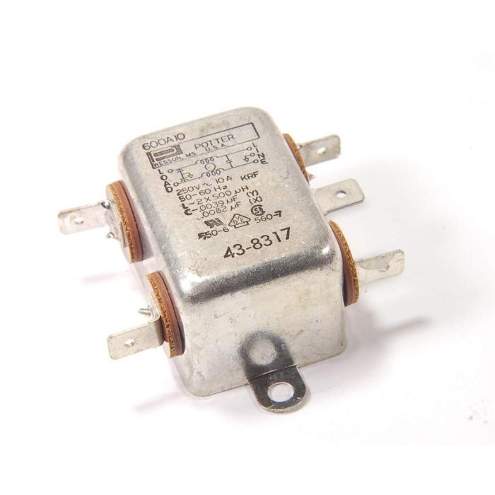 Potter USA - 600A10 - Filter, EMI. 10Amp 250VAC. New.