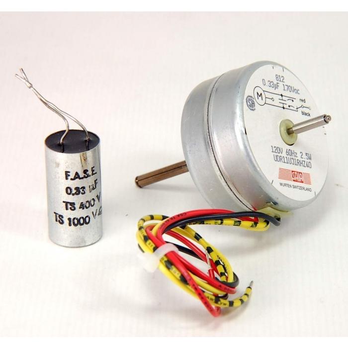 MURTEN SAIA - UDR11UJ1RHZ40 - Motor, AC. Timing motor, reversible. 120VAC 60Hz 2.5 watt, 400-500 RPM. Dual shaft, 4 wire.