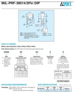 AVX/Kyocera - CKR22CG151KR - Capacitor, Ceramic. 150pF 200V, MIL-PRF-39014/2Pin DIP.