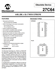 MICROCHIP - 27C64-25/P - IC, EPROM. CMOS 64K. New.