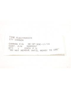 ITT Cannon - NK27-23C-11/16 - Connector, circular. 27 Position (F).