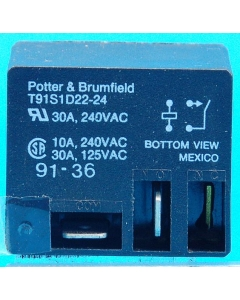 TE Connectivity - Potter & Brumfield -  T91S1D22-24 - Relay, Power. SPST NO 24VDC 30A.