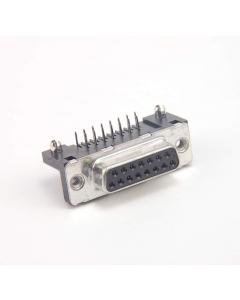 SOURIAU - Amphenol ICC - D15S33E4GX00 - Connector, D-Subminiature. DB15 Female, 2.74mm Solder RA Thru-Hole.
