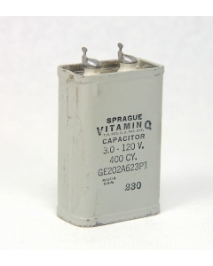 General Electric - 24F678 - Capacitor, oil-filled. 3uF 120VAC 400 cycle.
