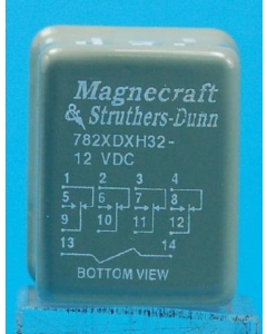 MAGNECRAFT/S&D - 782XDXH32-12D - Relay, DC. 4PDT 1Amp 12VDC.