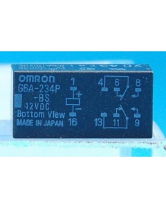 OMRON - G6A-234P-BS-DC12 - Relay, DC. Contacts: DPDT 12VDC 1A.