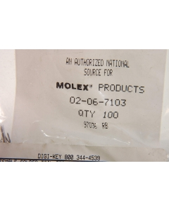 Waldom/Molex - 02-06-7103 - Female solder tail terminals. Package of 100.