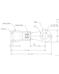 PANDUIT - AA-832-04 - Solderless terminal. Ring No 4. Package of 25.