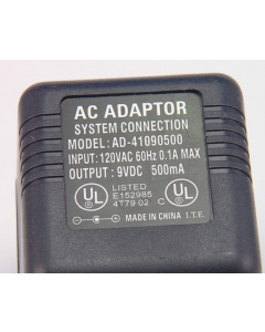 SYSTEM CONNECTION - AD-41090500 - Power supply, AC Adapter. 9VDC 500mA.