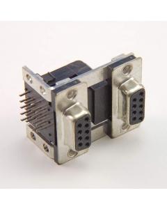 Unidentified MFG - DBL9D-FF-RT - Connector, D-Sub. Dual DB9 Female, RA.