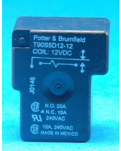 TE Connectivity TYCO P&B - T90S1D12-12 - Relay, Control. General Purpose, 12 VDC. Contacts: SPST. NO