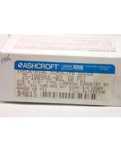 Ashcroft - 25-1009AWL-02L 60# - Gauge, pressure. 0-60PSI.