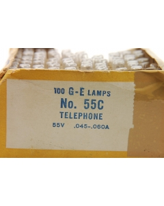GENERAL ELECTRIC - 55C - Telephone Lamps 55V 50mA wedge.
