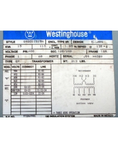Westinghouse - S48D11S15N - 15KVA 1PH 480V(tapped) to 120/240 Enclosed
