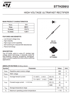 ST MICROELECTRONICS - STTH208 - Diode. 2Amp 800V. Ultra fast.