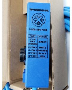 TURCK - VB40N-5 - 4-port J-box 1-circuit/port - Integral 5m cable