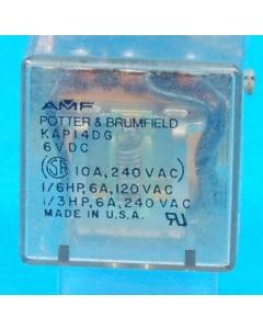 Potter & Brumfield - KAP14DG6 - Relay, control. 3PDT 10Amp 6VDC.