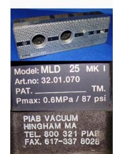 PIAB VACUUM - MLD 25MK1 - Pneumatic vacuum pump and manometer.