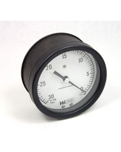 """Weiss Instruments - 4PGC-1-1/4BACK-30-0 InchHg - Mercury Vacuum Gauge 4.5"""" 0-30 Inches."""