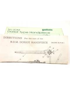 BUFFALO DENTAL MFG - 20M - Doriot Straight Handpiece / dental equip