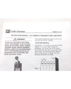 Cutler-Hammer / Eaton.... - E47BCC07S5 - Switch, Limit. Roller Plunger SPDT-5A