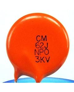 VISHAY CERA-MITE - 564CC0GAA302EL620J - Capacitor, Ceramic. 62pF 3,000V. (HV)