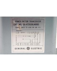 GENERAL ELECTRIC - 50-472636LNDB3 - Power Factor Transducer.