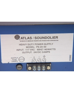 ATLAS SOUNDOLIER - PS24-50A - Power Supply. Unregulated 24VDC 5Amp.