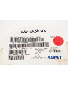 Kemet - C0603C151J5GAC - Capacitor, ceramic. 150pF 50V. SMD. Package of 100.
