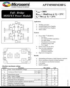 MicroChip - Microsemi - APTM50HM38FG - 4 N-Channel Full-Bridge MOSFET Power Module, 4N-CH 500V, 90A