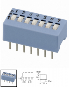 CTS Electrocomponents - 206-7 - Switch, dip. Contacts: SPST 7P, 50mA, 24V.