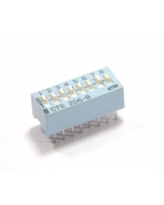 CTS - 206-8 - Switch, DIP16. Contacts: SPST 8P.
