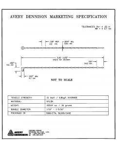 """AVERY DENNISON - 08350-0  - Hardware, Cable Ties. 5"""". Secur-A-Tie®Fasteners, Package of 40."""