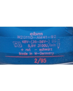 EBM Papst - W2G110-AM41-92 - Fan, Axial. 48VDC (36-56V), 5.9 watt 3100U/min (3100RPM).