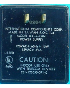 International Components Corp. / EQUAL ACCESS - ICC-2-750-1 - Power supply, AC. 12VAC 6VA 500mA.