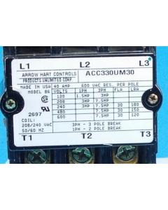 ARROW HART & HART - ACC330UM30 - Relay, Magnetic Contactor. 3P NO 40Amp 208/240VAC.