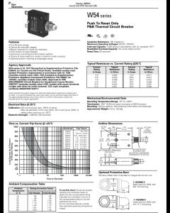 SIEMENS P&B - W58XA4A12B-20 - Circuit breaker. SP 20Amp 250VAC/50VDC.