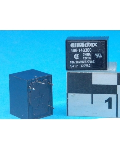 Midtex/Aemco - 496-14B300 - Relay, power. SPST NO 10A 12VDC.