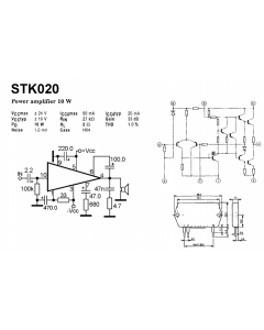 Unidentified MFG - STK020 - IC, audio. Single-channel audio power-output amplifier. New.