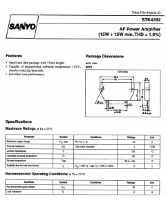 Sanyo - STK4392 - AF POWER AMPLIFIER 15-PWR SIP