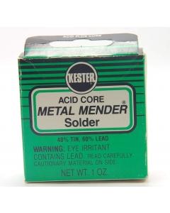 """KESTER - 7-220 - Solder, 40/60 Acid Core. 1 ounce 0.080""""Diameter, Metal mender."""