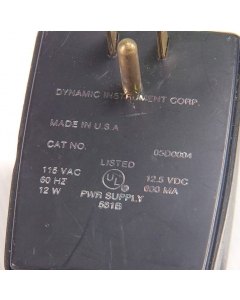 Dynamic Instruments Corp - 05D0004 / 531B - AC Adapter. Output: 12.5VDC 600mA.