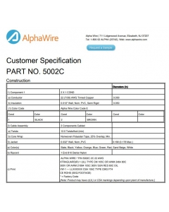 Alpha Wire Co. - 5002C - Cable, Unshielded. 22-2C.