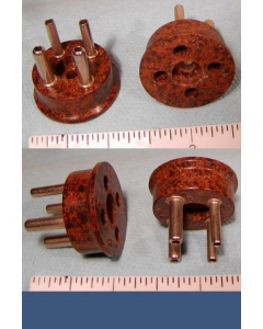 Amphenol New Vintage - 8-088 - Speckled Bakelite 4 Pin Shorting Plug Adapter, Quick Mount Tube, Relay, Male Cable Plug.