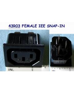 KB - 43R03 - Connector, power. IEC AC female. 6Amp 250VAC.