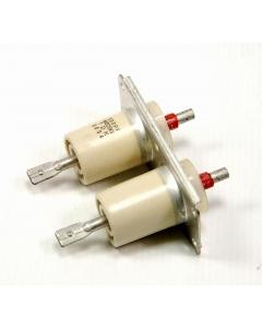 TDK - 0054 - Capacitor, HV. Dual 500pF 15KV DC, Ceramic Transmitter/Transmitting Doorknob Capacitor.