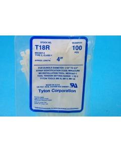 "Hellerman Tyton - T18R - Hardware, cable ties. 4"" long. Package of 100."